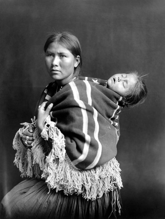 Navajo Woman & Child, C1914 Stretched Canvas Print