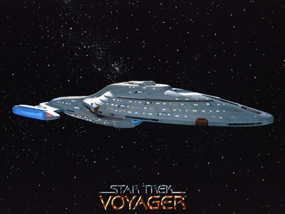 Star Trek: Voyager Starship NCC - 74656 Stretched Canvas Print