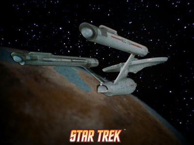 Star Trek: The Original Series, Starship near Planet Stretched Canvas Print
