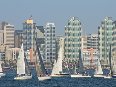 Fleet of Sailboats and Skyline of San Diego, California, Usa Stretched Canvas Print