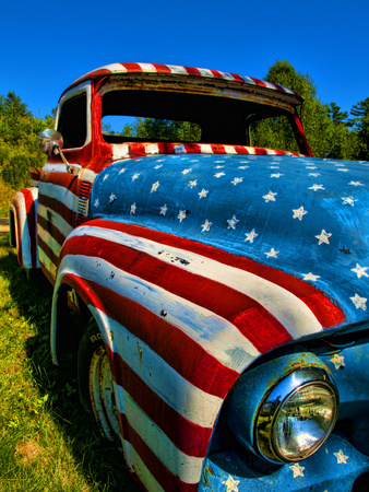Old Ford Truck Painted with American Flag Pattern, Rockland, Maine, Usa Stretched Canvas Print
