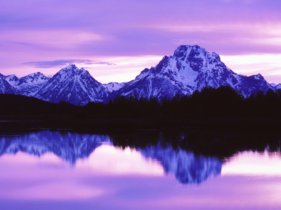 Mountain Reflections on Lake, Grand Teton National Park, Wyoming, Usa Stretched Canvas Print