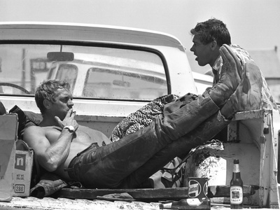 Actor Steve McQueen and Stuntman Bud Ekins During the Mojave Desert Motorcycle Race, May 1963 Stretched Canvas Print