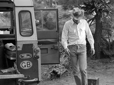 Actor Steve McQueen on a Camping Trip in the Sierra Madre Mountains, California, May 1963. Stretched Canvas Print