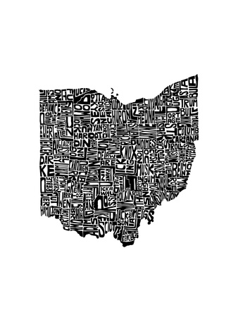Typographic Ohio Stretched Canvas Print