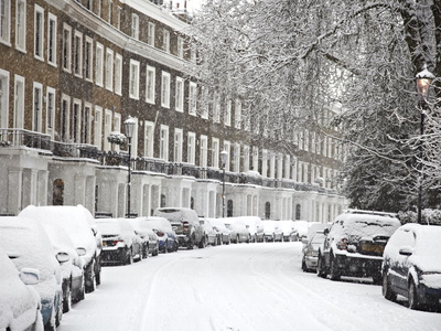 London Street in Snow, Notting Hill, London, England, United Kingdom, Europe Stretched Canvas Print