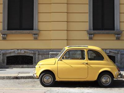 Old Car, Fiat 500, Italy, Europe Stretched Canvas Print