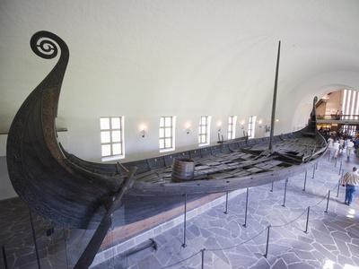 Oseberg Viking Ship Excavated From Oslofjord, Vikingskipshuset (Viking Ship Museum), Oslo Stretched Canvas Print