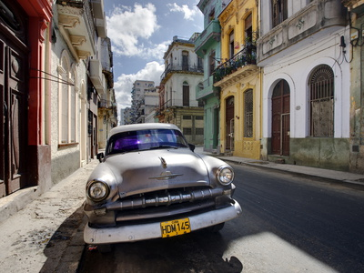 Old American Plymouth Car Parked on Deserted Street of Old Buildings, Havana Centro, Cuba Stretched Canvas Print