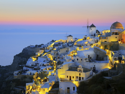Village of Oia, Santorini (Thira), Cyclades Islands, Aegean Sea, Greek Islands, Greece, Europe Stretched Canvas Print