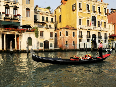 Gondola on the Grand Canal, Venice, Veneto, Italy, Europe Stretched Canvas Print