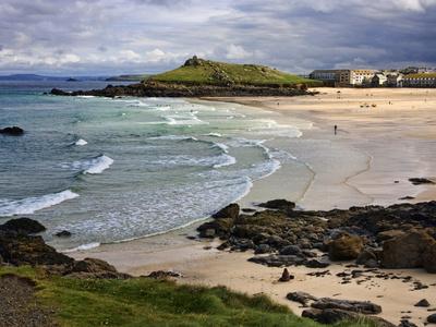 Porthmeor Beach, St. Ives, Cornwall, England, United Kingdom, Europe Stretched Canvas Print