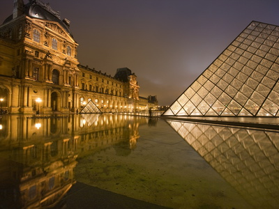 Palais Du Louvre Pyramid at Night, Paris, France, Europe Stretched Canvas Print