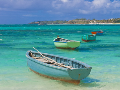 Small Fishing Boats in the Turquoise Sea, Mauritius, Indian Ocean, Africa Stretched Canvas Print