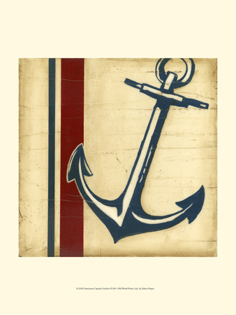 Americana Captain's Anchor Stretched Canvas Print