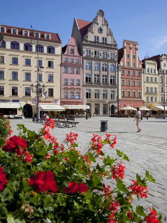 Market Square from Restaurant, Old Town, Wroclaw, Silesia, Poland, Europe Stretched Canvas Print