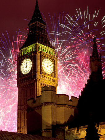 New Year Fireworks and Big Ben, Houses of Parliament, Westminster, London, England, United Kingdom, Stretched Canvas Print