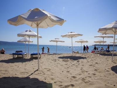 People Enjoying the Beach and Sunshades, South Sunny Beach, Black Sea Coast, Bulgaria, Europe Stretched Canvas Print