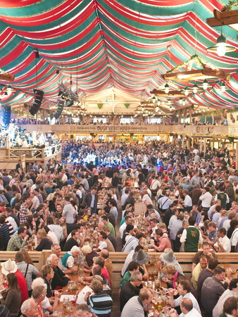 Beer Hall at the Stuttgart Beer Festival, Cannstatter Wasen, Stuttgart, Baden-Wurttemberg, Germany, Stretched Canvas Print