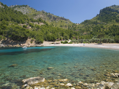 View across the Turquoise Waters of Cala Tuent Near Sa Calobra, Mallorca, Balearic Islands, Spain,  Stretched Canvas Print