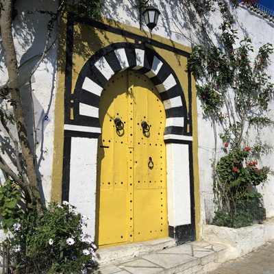 Traditional Tunisian Doorway, Sidi Bou Said, Tunisia, North Africa, Africa Stretched Canvas Print