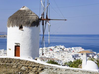 Bonis Windmill at the Folklore Museum in Mykonos Town, Island of Mykonos, Cyclades, Greek Islands,  Stretched Canvas Print