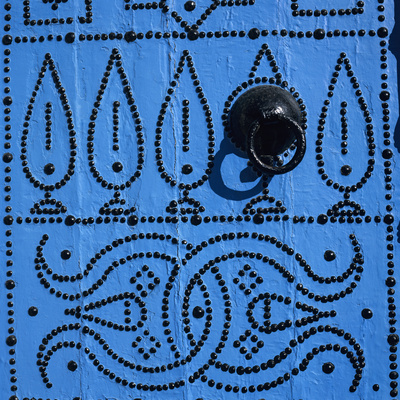 Close Up of Traditional Tunisian Door, Sidi Bou Said, Tunisia, North Africa, Africa Stretched Canvas Print