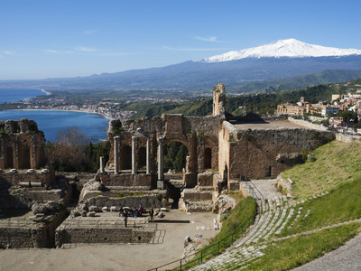 The Greek Amphitheatre and Mount Etna, Taormina, Sicily, Italy, Mediterranean, Europe Stretched Canvas Print