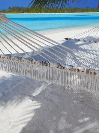 Hammock on Tropical Beach, Maldives, Indian Ocean, Asia Stretched Canvas Print