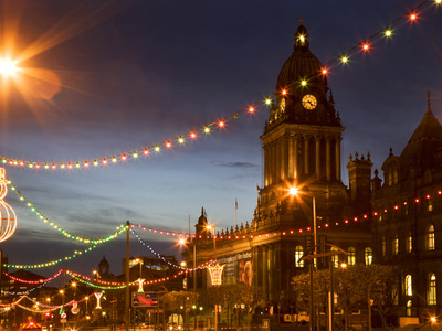 Town Hall and Christmas Lights on the Headrow, Leeds, West Yorkshire, Yorkshire, England, United Ki Stretched Canvas Print