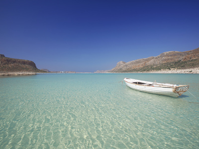 Balos Bay and Gramvousa, Chania, Crete, Greek Islands, Greece, Europe Stretched Canvas Print
