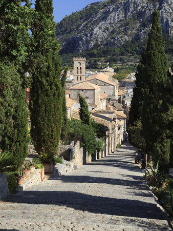 Calvary Steps with View over Old Town, Pollenca (Pollensa), Mallorca (Majorca), Balearic Islands, S Stretched Canvas Print