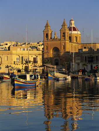 Harbour with Luzzu Fishing Boats and Marsaxlokk Parish Church at Sunrise, Marsaxlokk, Malta, Medite Stretched Canvas Print