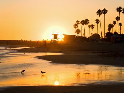 Sunset at Corona Del Mar Beach, Newport Beach, Orange County, California, United States of America, Stretched Canvas Print