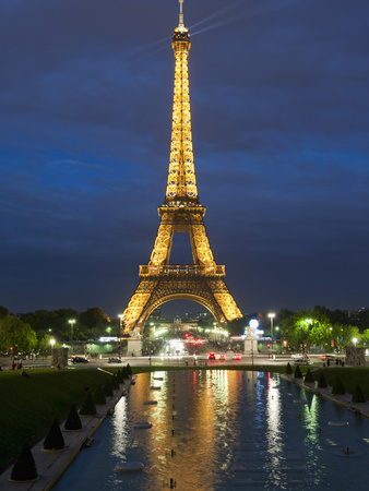 Eiffel Tower and Reflection at Twilight, Paris, France, Europe Stretched Canvas Print