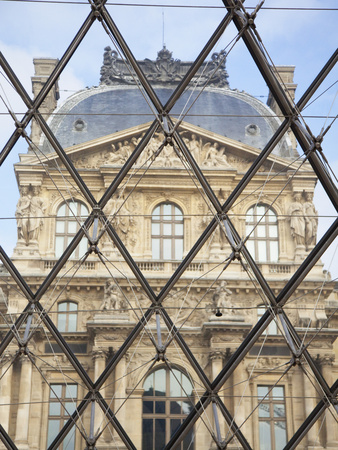 The Louvre Viewed Through the Pyramid, Paris, France, Europe Stretched Canvas Print