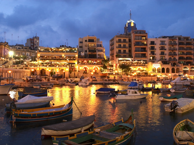 Evening across Spinola Bay with Restaurants, St. Julian`S, Malta, Mediterranean, Europe Stretched Canvas Print
