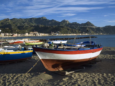 Fishing Boats on Beach, Giardini Naxos, Sicily, Italy, Mediterranean, Europe Stretched Canvas Print