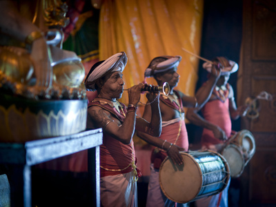 Musicians at Gangaramaya Buddhist Temple, Site of Annual Navam Perahera Festival, Colombo, Sri Lank Stretched Canvas Print