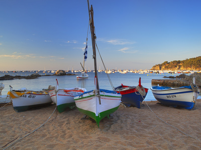 Fishing Boats at Dawn, Calella De Palafrugell, Costa Brava, Catalonia, Spain, Mediterranean, Europe Stretched Canvas Print