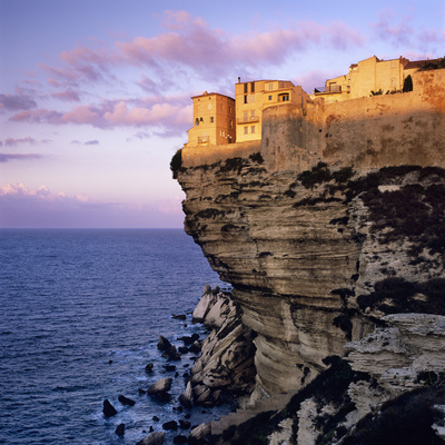 Haute Ville on Cliff Edge at Dawn, Bonifacio, South Corsica, Corsica, France, Mediterranean, Europe Stretched Canvas Print