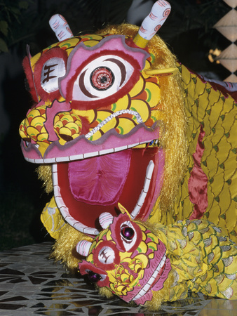 Chinese Dragon Dance at Chinese New Year Celebrations, Vietnam, Indochina, Southeast Asia, Asia Stretched Canvas Print
