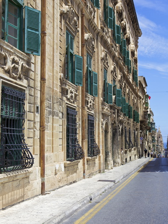 Auberge De Castille One of Valletta's Most Magnificent Buildings, Valletta, Malta, Mediterranean, E Stretched Canvas Print