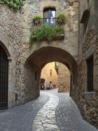 Street Scene in Old Town, Pals, Costa Brava, Catalonia, Spain, Europe Stretched Canvas Print