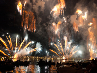 The Amazing Fireworks Display During the Night of Redentore Celebration in the Basin of St. Mark, V Stretched Canvas Print