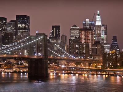 Brooklyn Bridge, East River with Lower Manhattan Skyline in Distance, Brooklyn, New York, Usa Stretched Canvas Print