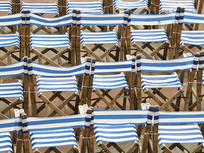 Rows of Traditional Blue and White Deckchairs, Eastbourne, Sussex, Uk Stretched Canvas Print