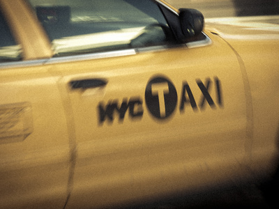 Yellow Taxi Cab, Manhattan, New York City, USA Stretched Canvas Print
