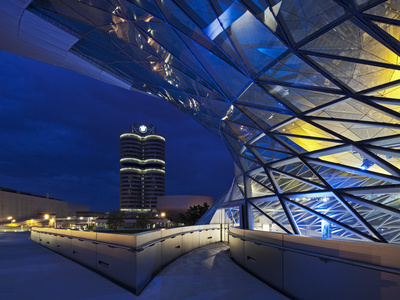 Twilight View of the Pedestrian Bridge Link to the BMW Headquarters Office Building and Museum, BMW Stretched Canvas Print