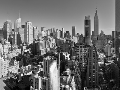 USA, New York, Manhattan, Midtown Skyline Including Empire State Building Stretched Canvas Print